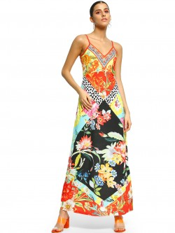 101 IDEES Mixed Tropical Print Strappy Maxi Dress