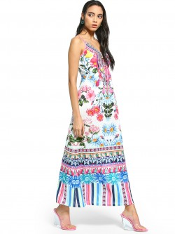 101 IDEES Mixed Floral Print Strappy Maxi Dress