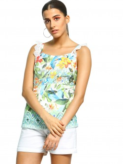 101 IDEES Floral Crochet Lace Top