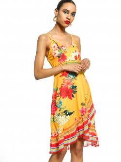 101 IDEES Tropical Print Ruffle Shift Dress