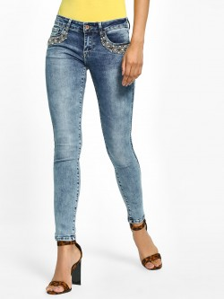 Toxik3 Acid Wash Embellished Pocket Jeans