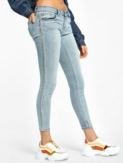 Toxik3 Light Wash Bead Fringe Detail Skinny Jeans
