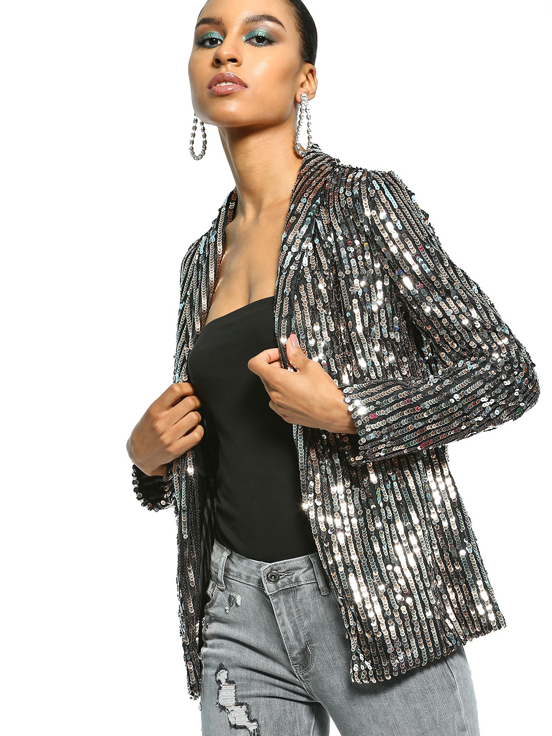 FP & CO Black All Over Sequin Blazer 1