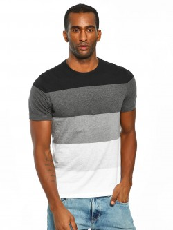 Celio Melange Stripe Colour Block T-Shirt