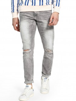 Celio Distressed Light Wash Slim Jeans