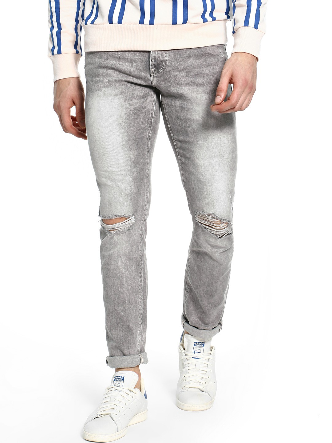 Celio Grey Distressed Light Wash Slim Jeans 1