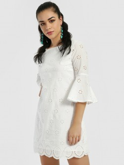 Cover Story Broderie Detail Shift Dress