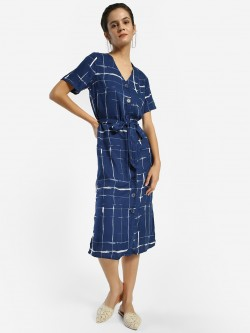 Femella Abstract Check Print Midi Dress