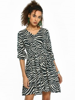 Femella Zebra Print Button Down Shift Dress