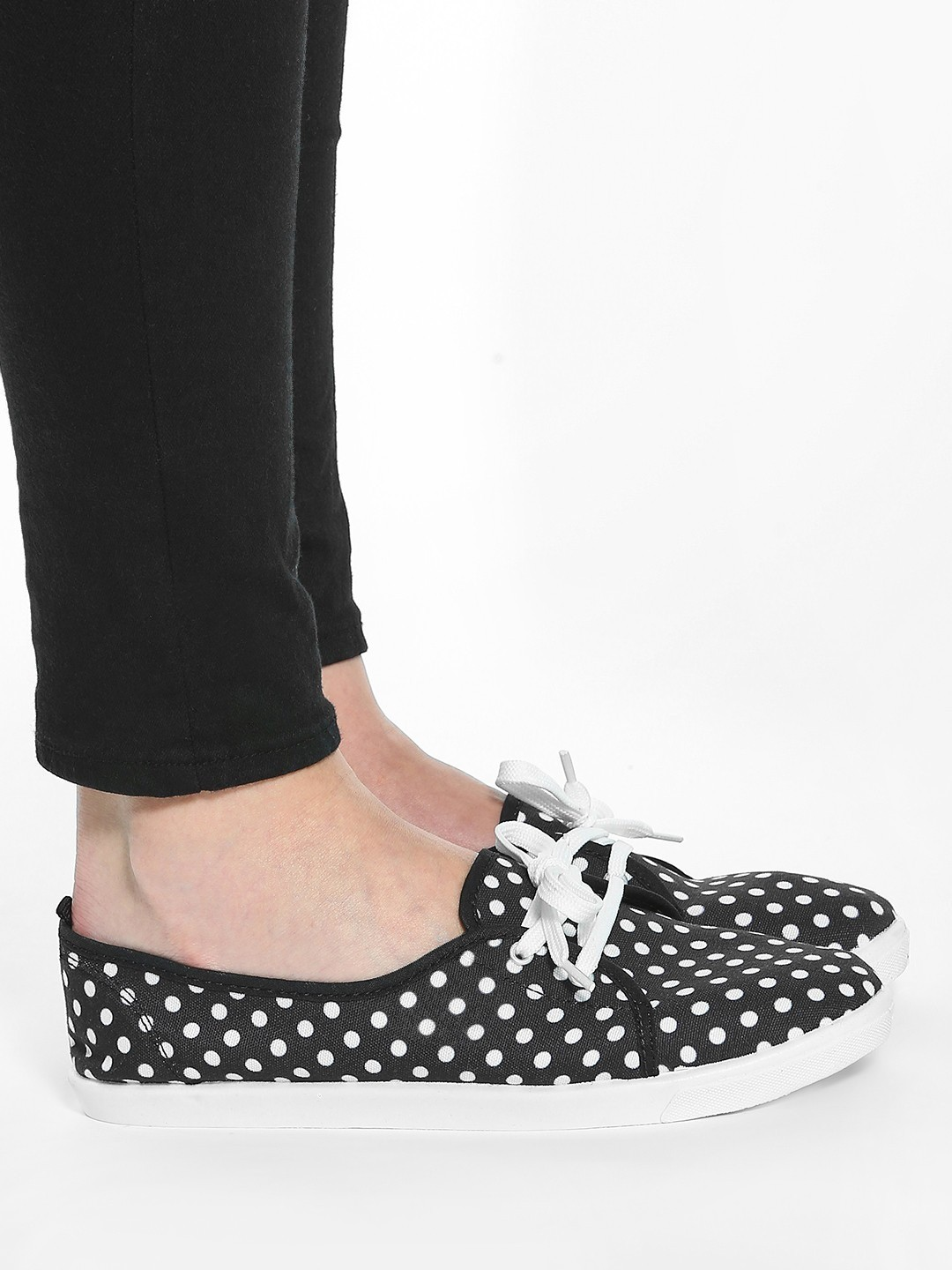 KOOVS Black Polka Dot Print Plimsoll Shoes 1