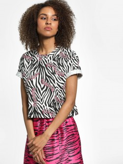 KOOVS Text Zebra Print Crop T-Shirt