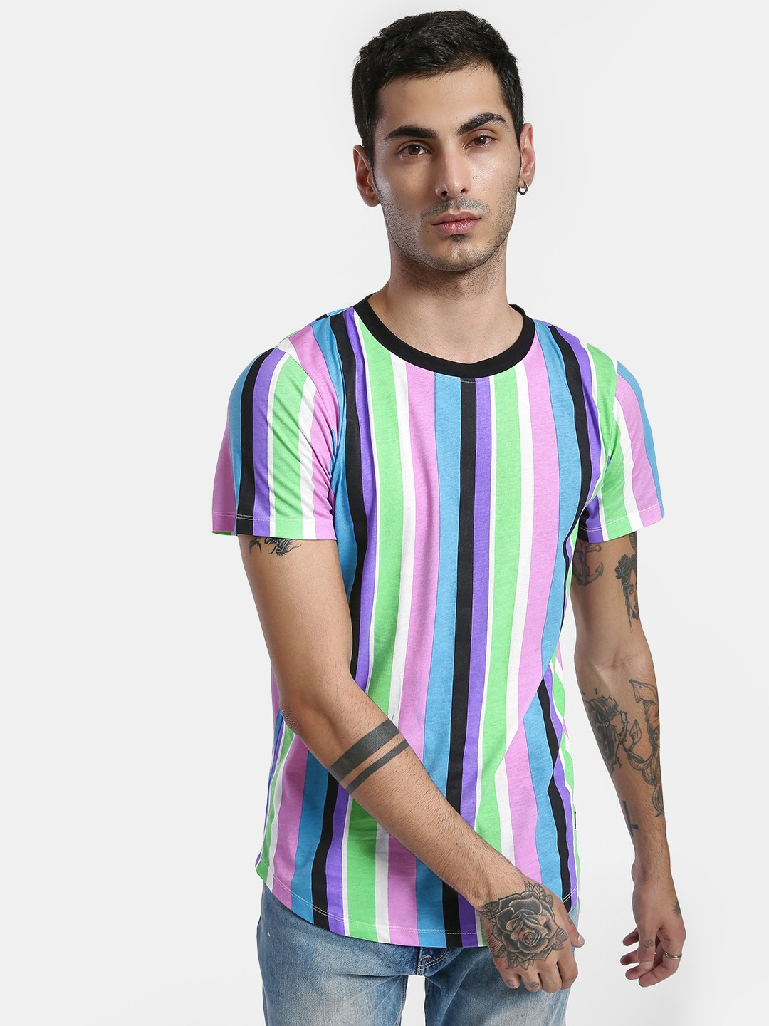 Kultprit Multi Vertical Stripe Print T-Shirt 1