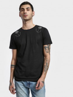 Kultprit Rose Embroidered Curved Hem T-Shirt