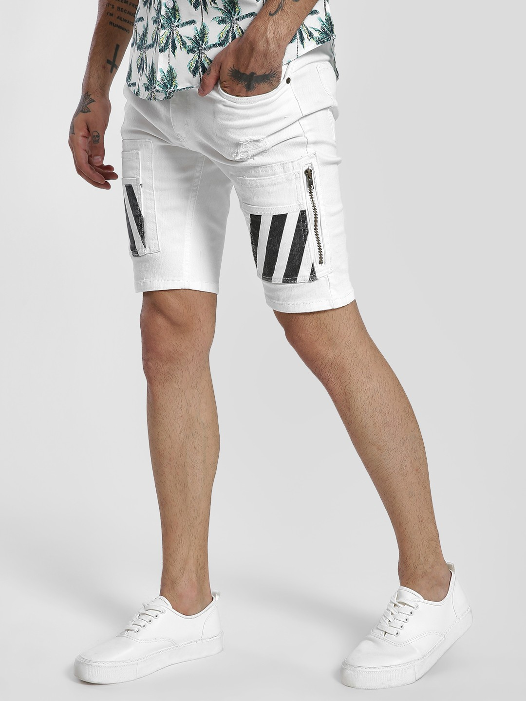 Kultprit White Stripe Cargo Pocket Denim Shorts 1