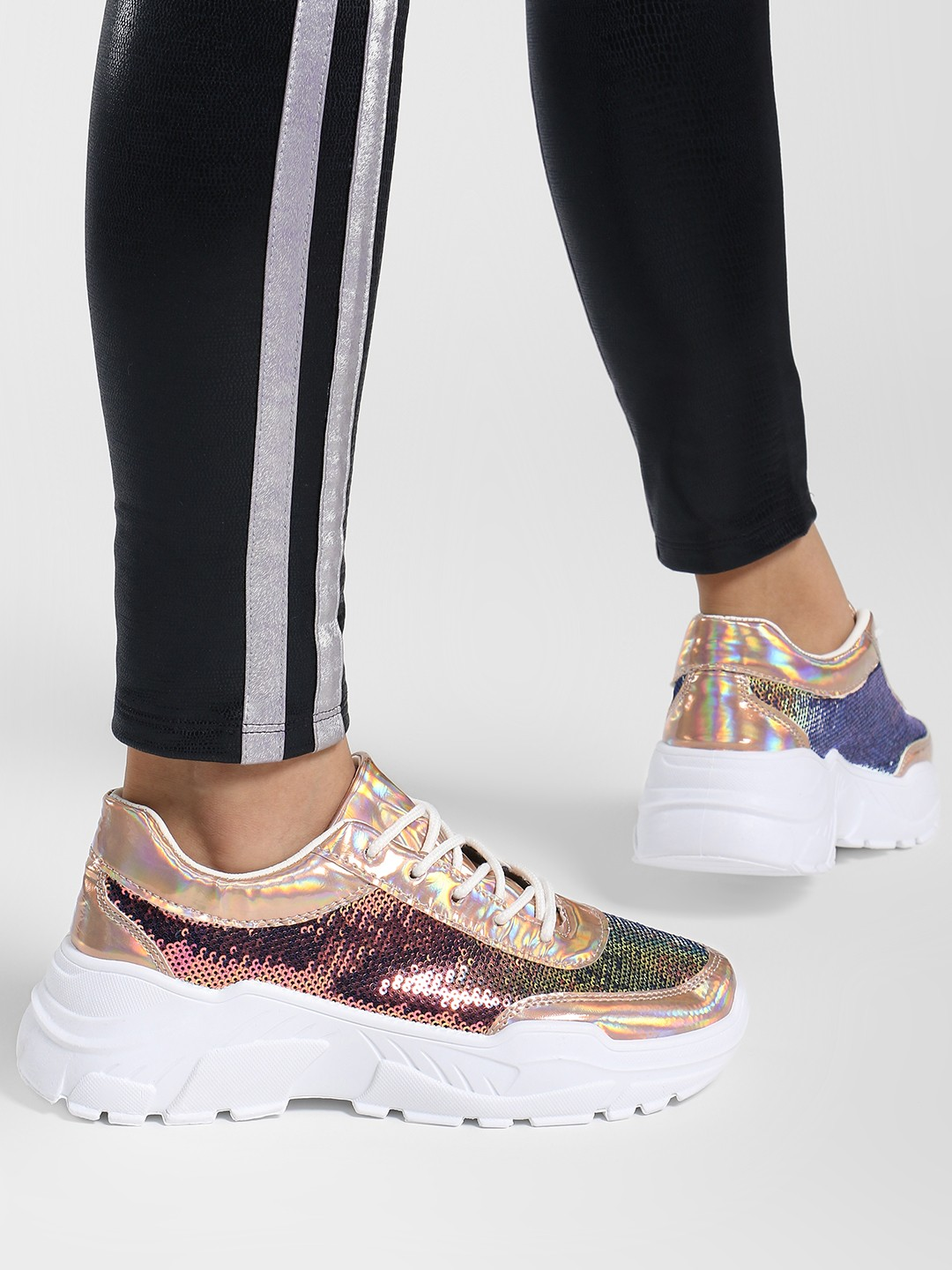 Ideal Shoes Rose Gold Metallic Sequin Chunky Sole Trainers 1