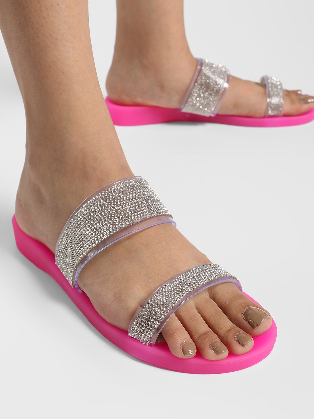 Ideal Shoes Pink Clear Diamante Jelly Strap Slides 1