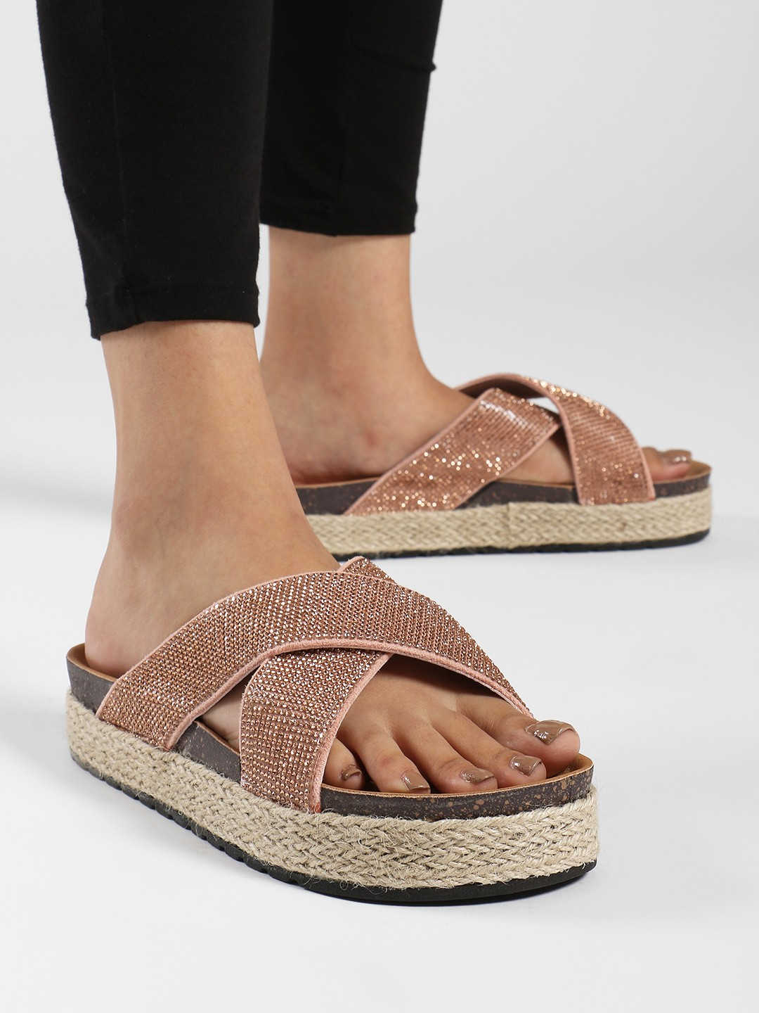 Ideal Shoes Rose Gold Diamante Cross Strap Flatform Wedges 1