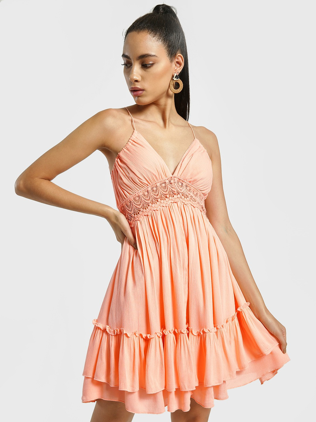 KOOVS Peach Lace Insert Swing Dress 1