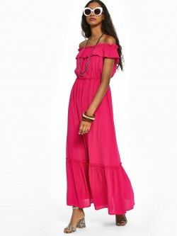 KOOVS Crinkled Off-Shoulder Maxi Dress