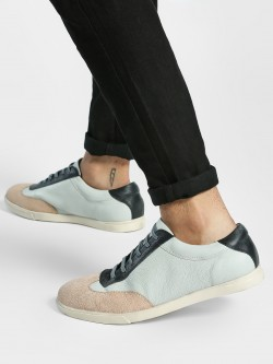 YOHO Suede Panel Lace-Up Leather Sneakers