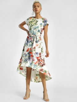 Miaminx Floral Print Tie-Up Midi Dress
