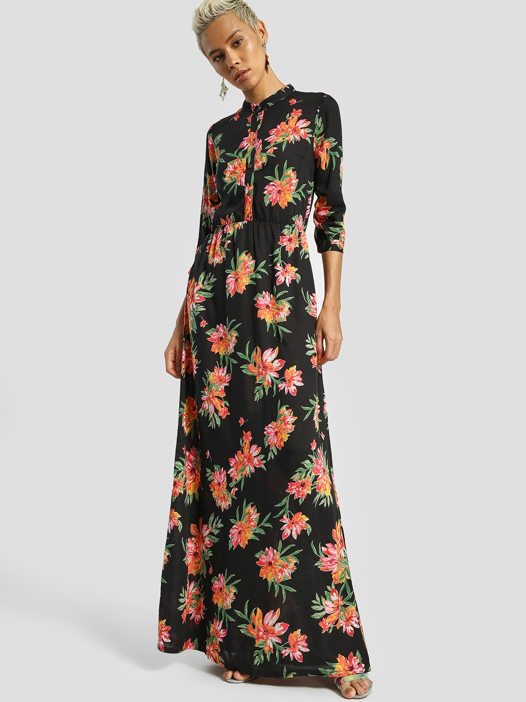 Miaminx Black Floral Print Maxi Dress 1