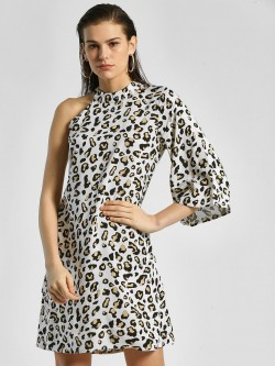 Miaminx Leopard Print One Shoulder Shift Dress