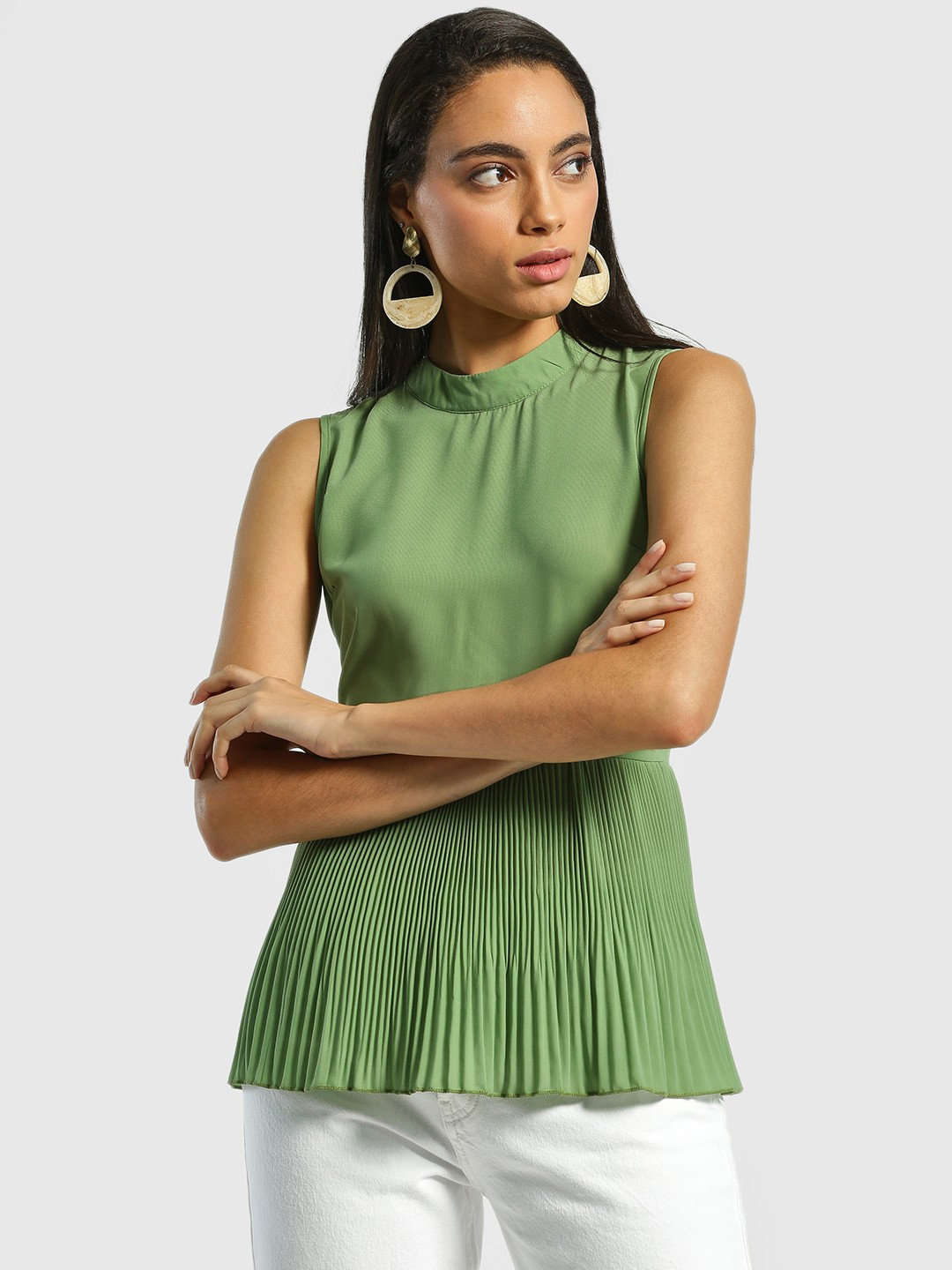 Miaminx Green Back Tie-Knot Pleated Blouse 1