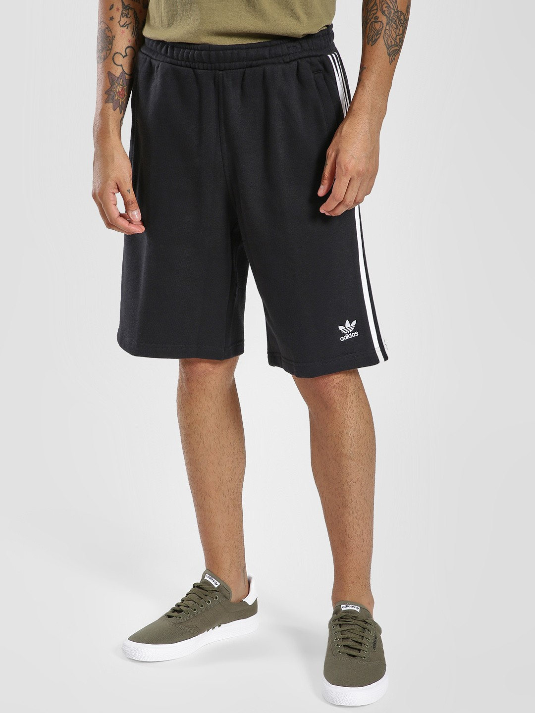 Adidas Originals Black 3 Stripe Shorts 1