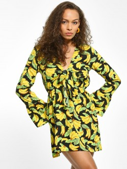 The Gud Look Banana Print Front Tie Shift Dress