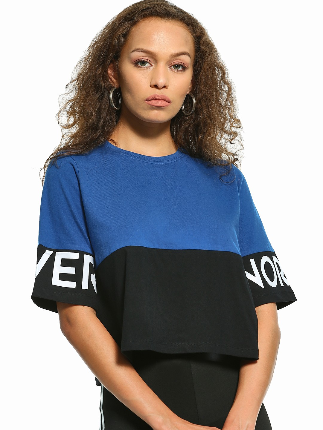 Disrupt Multi Color Block Slogan Print Crop T-Shirt 1