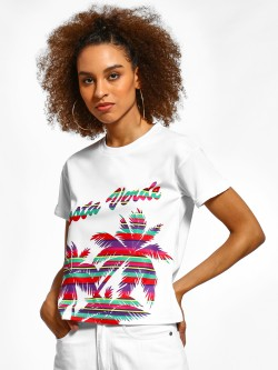 KOOVS Stripe Palm Tree Text T-Shirt