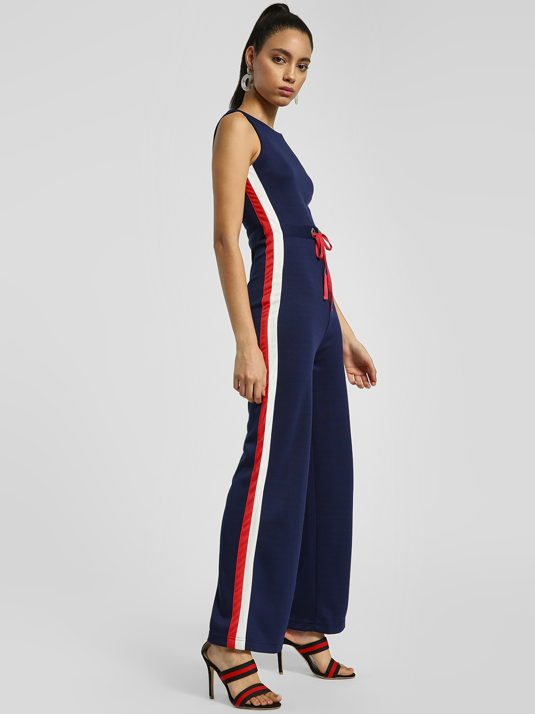 KOOVS Blue Contrast Side Tape Sleeveless Jumpsuit 1
