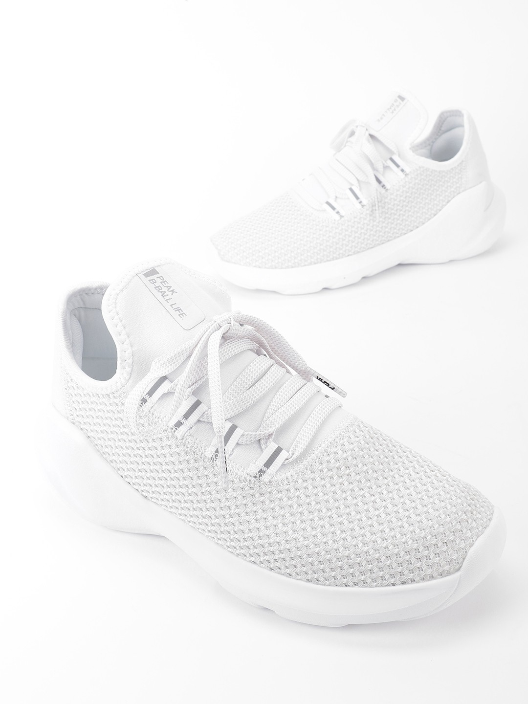 Peak White Knitted Chunky Sole Basketball Shoes 1