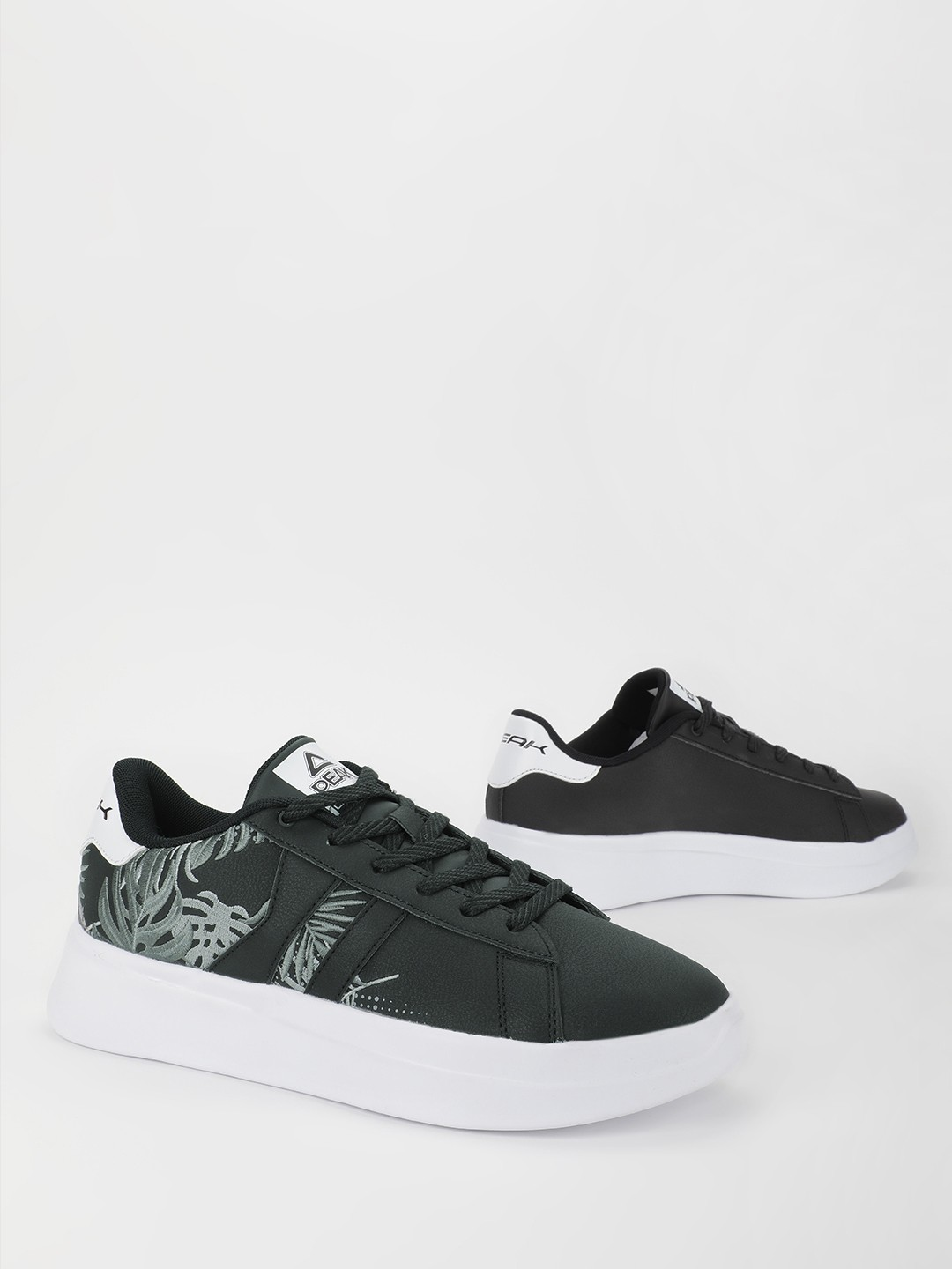 Peak Black Palm Embroidered Raised Sole Sneakers 1