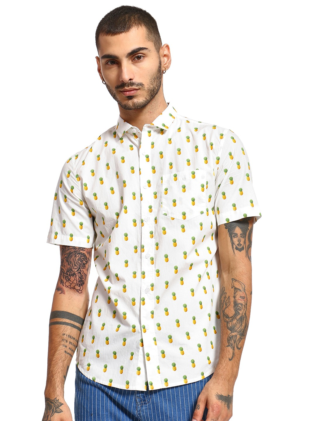 Mint & Cotton White All Over Pineapple Print Shirt 1