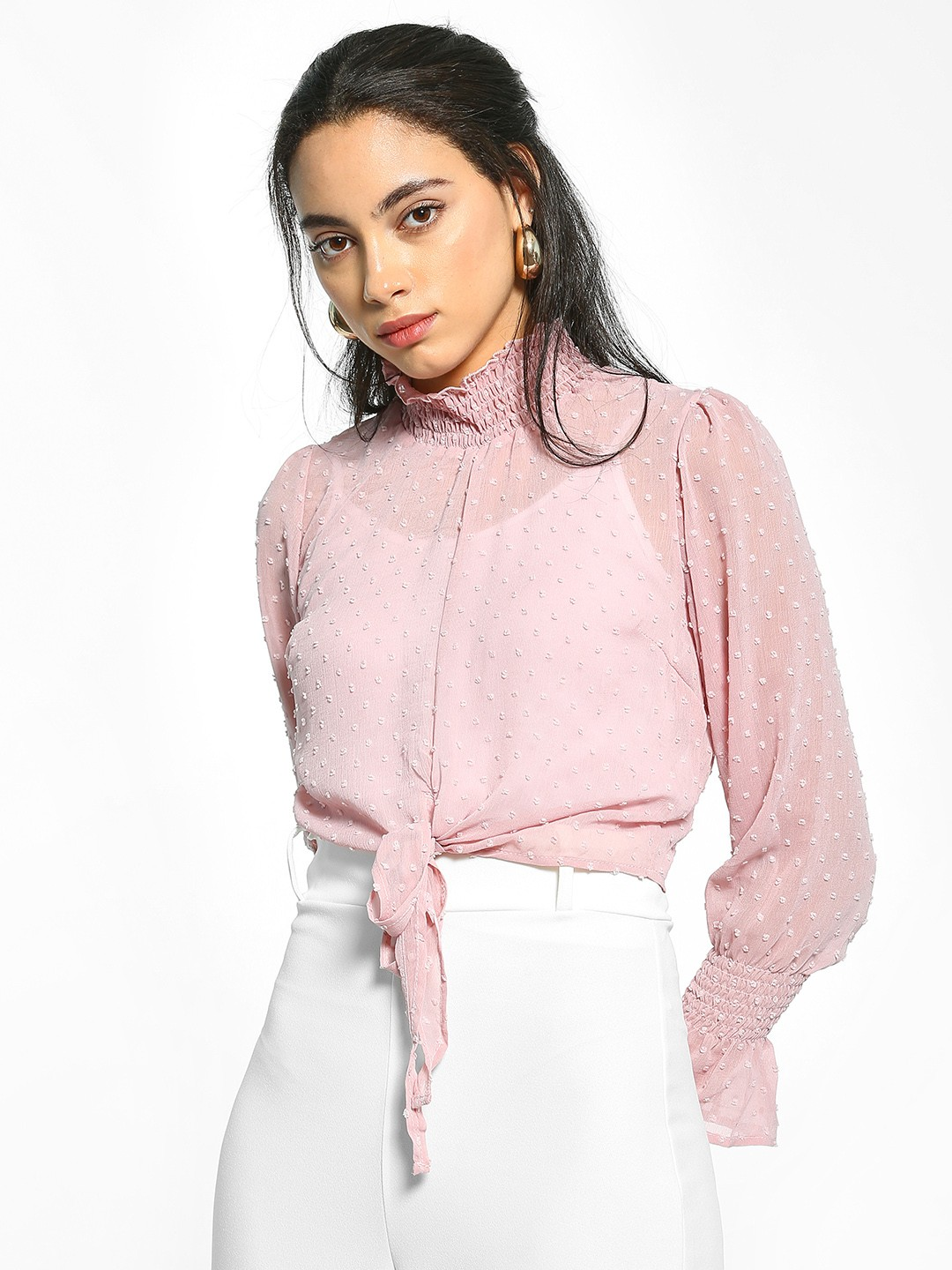 EmmaCloth Pink Dobby Turtleneck Knot Crop Top 1