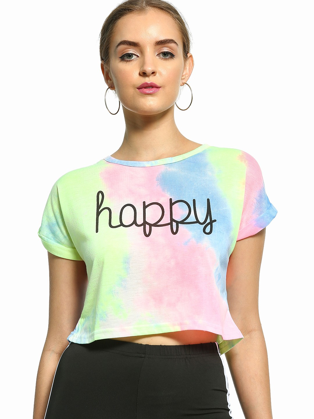 EmmaCloth Multi Tie-Dye Happy Print T-Shirt 1