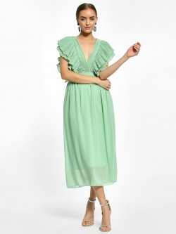 EmmaCloth Plisse Detail Midi Dress