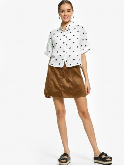 EmmaCloth Button Detail Suede Mini Skirt
