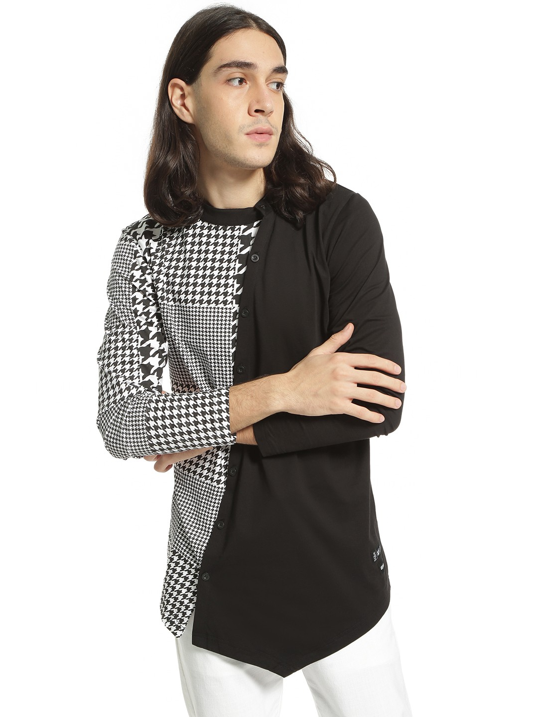 Kultprit Multi Houndstooth Check Print Shirt 1