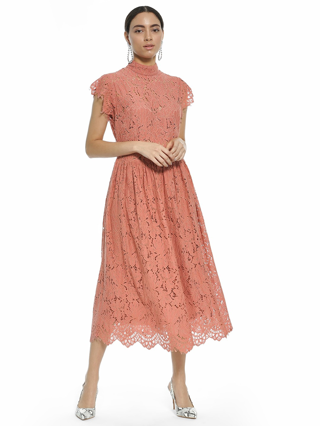 Rare London Pink High Neck Lace Midi Dress 1