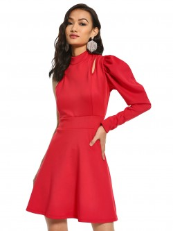 KOOVS Puffed Sleeve Skater Dress