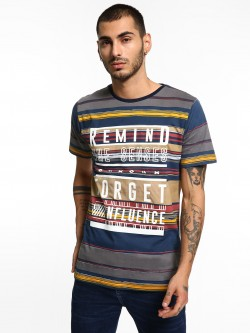 Adamo London Stripe Slogan Print T-Shirt