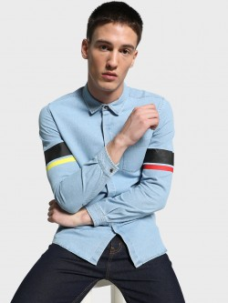 Adamo London Light Wash Varsity Stripe Denim Shirt