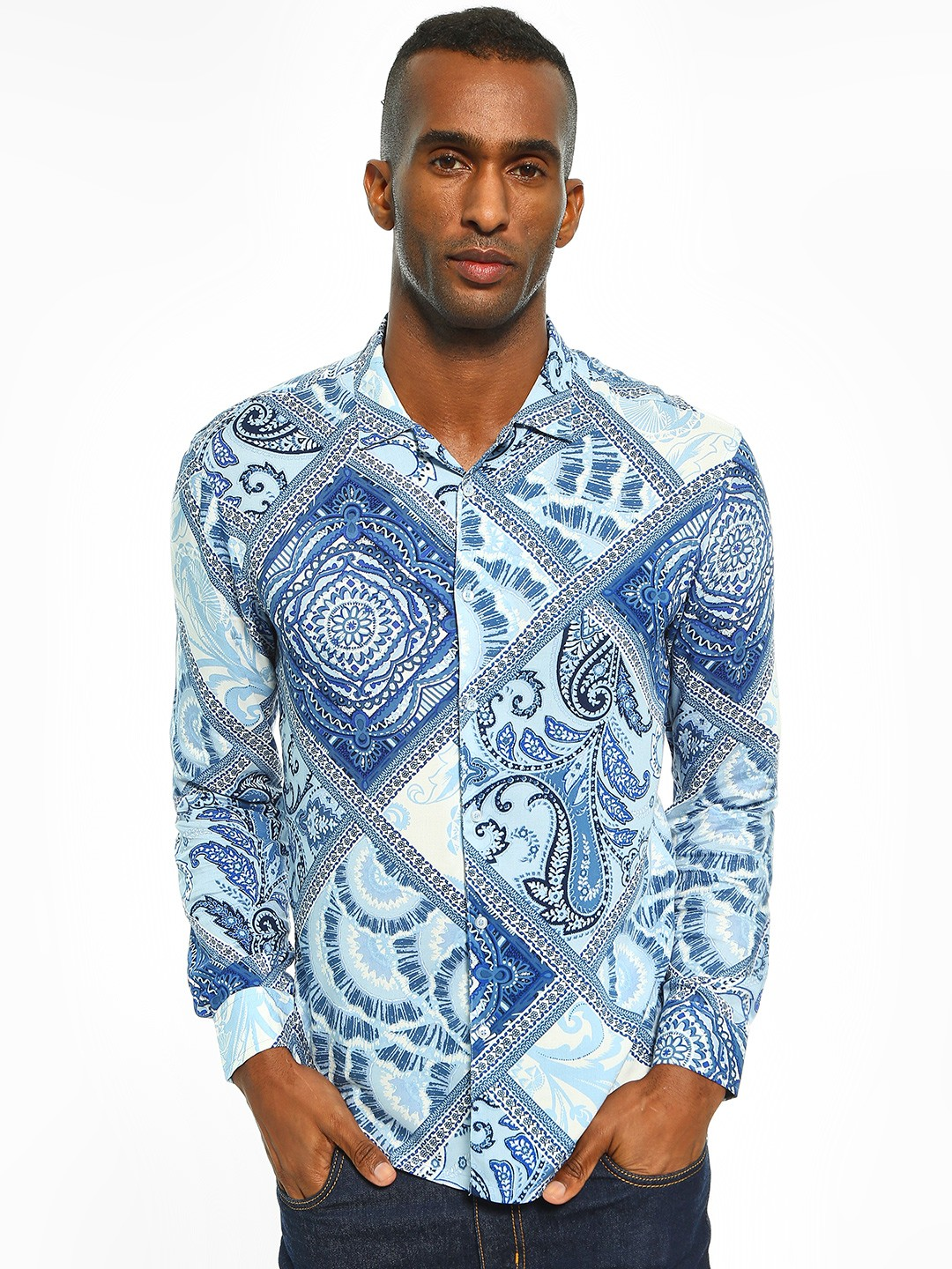 TRUE RUG Blue All Over Paisley Print Shirt 1