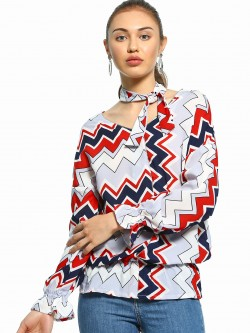 UMM Chevron Print Tie Neck Blouse