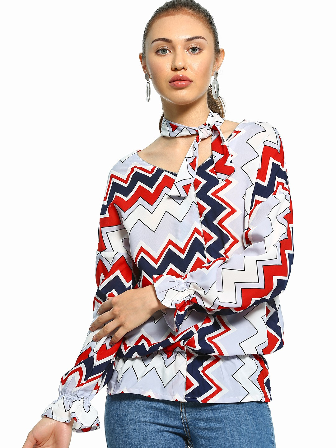 UMM Multi Chevron Print Tie Neck Blouse 1