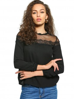 UMM Mesh Lace Yoke Top