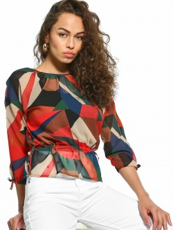 UMM Geometric Print Drawcord Top